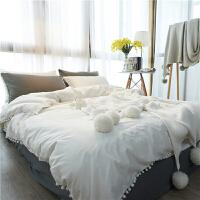 君别ins简约小清新球球四件套被套纯色床单韩式1.8床上用品 2.0m(6.6英尺)床 床单款