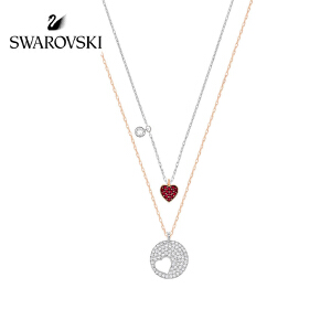 SWAROVSKI/施华洛世奇 情人节礼物 CRYSTAL WISHES HEART红色女士小爱心项链套装 5255351