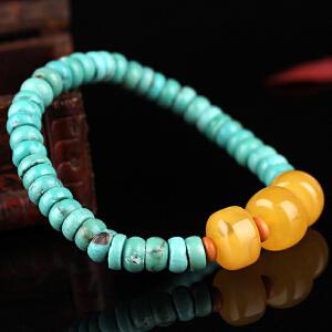 原矿高瓷绿松石算盘珠DIY手串 配蜜蜡算盘珠 重量13.57g