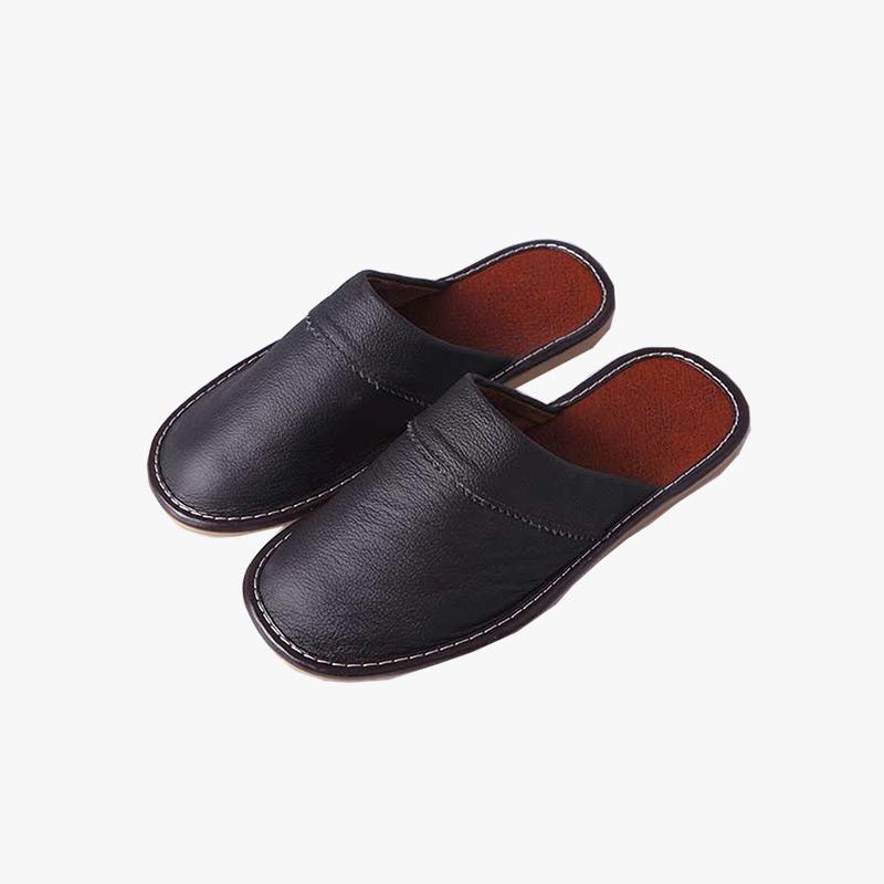 当当优品 牛皮拖鞋 居家拖鞋 保护地板防滑拖鞋当当自营 牛皮透气清爽 牛筋底耐用防滑