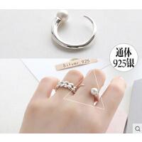 日韩潮人简约食指开口戒 饰品 925银韩国时尚珍珠戒指女
