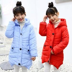 百槿 公主范女童中长款连帽单排扣棉衣棉服 中大童冬季连帽纯色中长款棉衣棉服