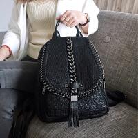 皮双肩时尚潮流女包软皮休闲旅游包包 黑色