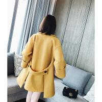欧美背后系带袖口卷边羊毛单面呢毛呢外套呢大衣女潮 芒果黄 M 建议115斤-130斤