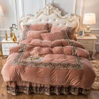 ins欧式夹棉水晶绒床裙四件套保暖法兰绒床罩加厚床上珊瑚绒被套