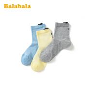 巴拉巴拉儿童袜子棉小童短袜夏季宝宝透气网眼袜卡通弹力三双装