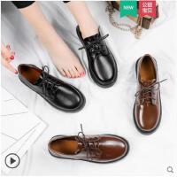 chic小皮鞋女冬季新款韩版百搭学生原宿英伦风平底单鞋女鞋子