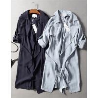 17新款OL通勤干练绑带收腰大翻领两穿袖天丝风衣外套秋冬女装0.7