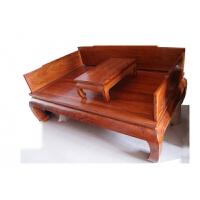 北方老榆木仿古家具山水雕花客厅中式实木罗汉床三件套沙发罗汉榻 2米