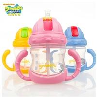 海绵宝宝吸管杯小孩刻度水杯子儿童带手柄塑料水壶防漏水瓶180ml .