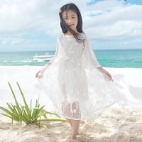 女童沙滩裙海边度假中大童夏季裙子儿童雪纺长裙小女孩白色连衣裙 6621披风开花