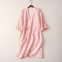 日系睡袍纱布纯棉睡裙女夏季可爱全棉长袖日式和风情侣浴袍家居服 粉色 云朵纱布浴袍