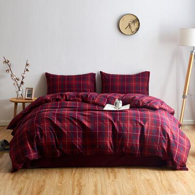 某当优品拉绒四件套 全棉日式水洗法兰绒床品 双人1.5米床 红色格纹