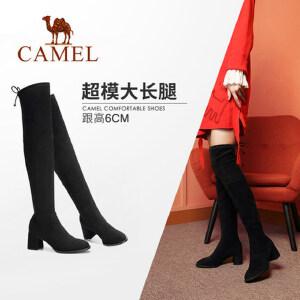 骆驼女鞋2018冬新款粗跟女靴英伦长筒瘦瘦靴子百搭学生过膝长靴女