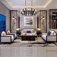 新中式沙发组合简约现代实木布艺酒店会所样板房别墅万物家具定制 组合