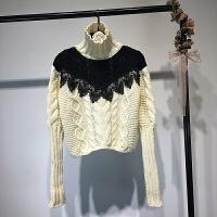 女装 2017秋冬欧美风高领麻花拼接蕾丝长袖短款针织衫毛衣女