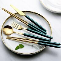 光一北欧ins风高档不锈钢筷子牛排刀叉勺三件套甜品家用创意网红餐具