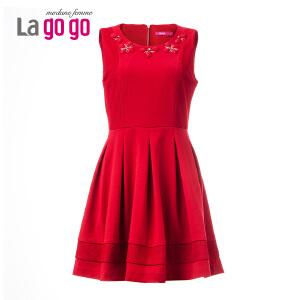 lagogo拉谷谷冬季新品红色修身百搭钉珠连衣裙