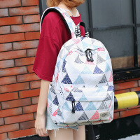 双肩包男大容量旅行包韩潮流印花背包女生书包 白色
