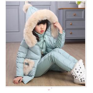 百槿 冬季女童连帽毛领纯色三件套 中大童连帽棉服加厚卫衣休闲裤套装