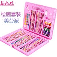 BARBIE/芭比娃娃 B8027 128件美劳派 颜色图案随机儿童套装幼儿园小学生美术绘画工具水彩蜡笔彩色铅笔迪士尼
