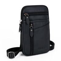 新款腰包男士小包 穿皮带7寸手机腰包多功能牛皮 单肩迷你挂包潮