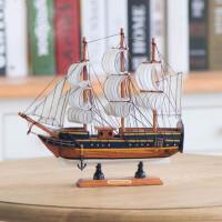 实木质帆船模型 地中海海盗船轮船 手工艺船品礼品船一帆风顺摆件