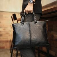 真皮手提包男包新款商务公文包手拿休闲单肩背包斜挎包男士包包潮 黑色 X04