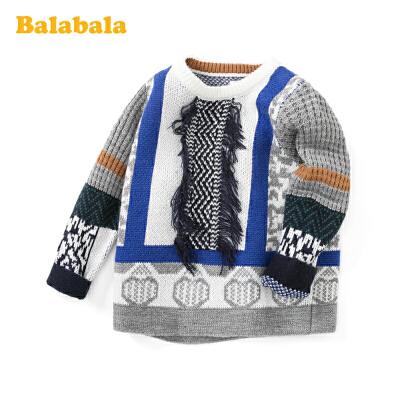 巴拉巴拉宝宝毛衣儿童打底衫男童春装2020新款民族风洋气圆领上衣