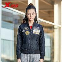 特步夹克女子外套保暖防风女子双层夹克轻便潮流飞行员夹克上衣882128129012
