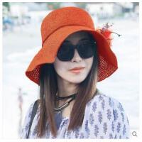 遮阳帽子女夏天出游防晒 帽韩版大沿 可折叠草帽沙滩帽太阳帽
