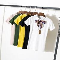 冰丝针织夏装新款韩版修身显瘦系带蝴蝶结打底衫短袖T恤女上衣潮