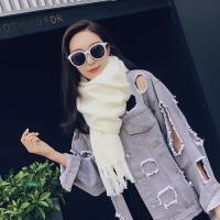 韩版纯色围巾女秋冬季加厚仿羊绒披肩两用学生保暖围巾披肩女士