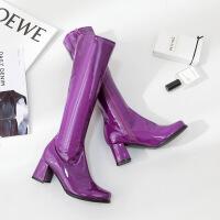中长款高筒靴女秋冬漆皮长靴欧美夜店紫色靴子粗跟高跟女靴潮蓝色