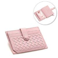 超薄小卡包 女式小巧卡套卡片包 个性真皮卡夹可爱迷你零钱包韩国 粉色 编织