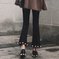 孕妇裤子春季2018新款喇叭裤休闲裤外穿长裤潮妈秋装托腹九分裤女 黑色