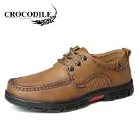 鳄鱼恤休闲鞋系带商务休闲皮鞋百搭工装鞋大头鞋舒适男鞋