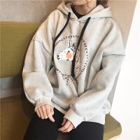 秋冬女装韩版可爱卡通蝙蝠袖加绒加厚宽松连帽套头卫衣外套学生潮
