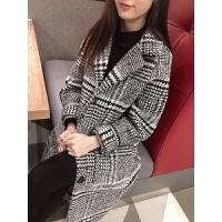 2018秋冬装新款黑白千鸟格子呢子大衣女宽松茧型中长款毛呢外套女 格子