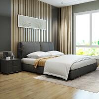 布艺床 北欧布床1.5米可拆洗 简约现代小户型主卧1.8米双人床婚床 +22cm乳胶床垫