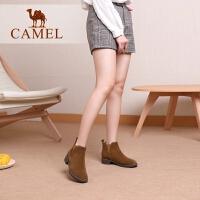 骆驼女鞋新款切尔西短靴女真皮磨砂平底百搭加绒瘦瘦靴子女冬