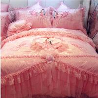 婚庆床品四件套纯棉蕾丝床罩被套结婚床上用品六七八件套大红粉色 幸福约定 粉玉 2.0m(6.6英尺)床 十件套