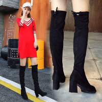 过膝长靴女高跟性感弹力靴2018新款秋冬尖头粗跟长筒高筒靴子