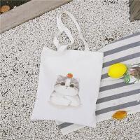 布袋可爱猫咪印花大容量购物袋日韩帆布包女单肩手提包