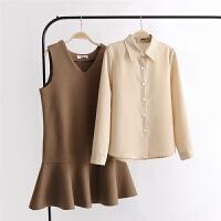 女装春韩版翻领长袖衬衫+毛呢荷叶边背心裙两件套连衣裙