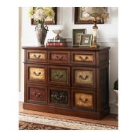 欧美式家具实木抽屉式收纳柜九斗柜客厅柜卧室柜欧式玄关柜储藏柜 手绘 整装