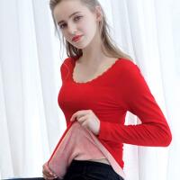 西蒙莱纳(SIMON RAINER) 秋冬保暖内衣女上衣单件加绒加厚紧身蕾丝百搭打底衫