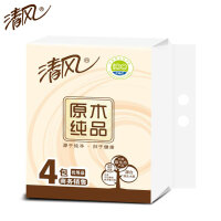 清风原木纯品抽纸婴儿可用3层100抽4包/提软包纸巾餐巾纸多省包邮