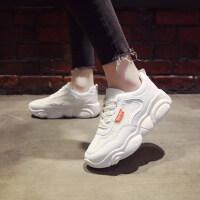 韩版潮时尚小白鞋中跟松糕底运动鞋女学生休闲小熊鞋