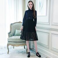 MIUCO欧洲站女装2018春装新款系带领牛仔衬衫+黑色蕾丝网纱裙套装
